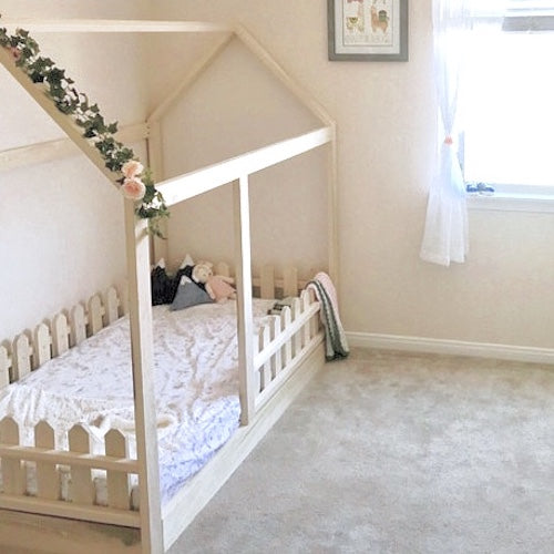 House Bed + Picket Fence Railings