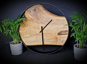 Walnut Wood Wall Clock - Oia Blue