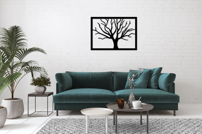 Metal Wall Art Tree Decoration - Oia Blue