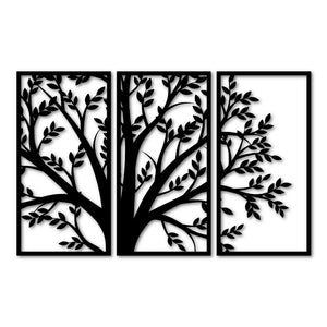 Metal Wall Art Decor 3 Piece Tree With Leaves Geometric 3D Wall Panel Art Metal Active