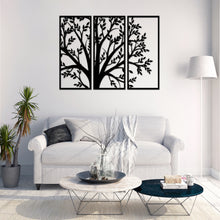 Load image into Gallery viewer, Metal Wall Art Decor 3 Piece Tree With Leaves Geometric 3D Wall Panel Art Metal Active - Oia Blue