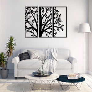 Metal Wall Art Decor 3 Piece Tree With Leaves Geometric 3D Wall Panel Art Metal Active - Oia Blue
