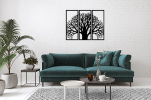 Metal Wall Art Tree With Branches 3 Peace Decor - Oia Blue