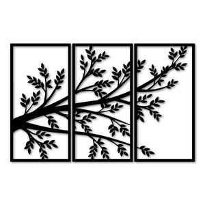 Metal Wall Art 3 Pieces Branch Tree Home Decor - Oia Blue