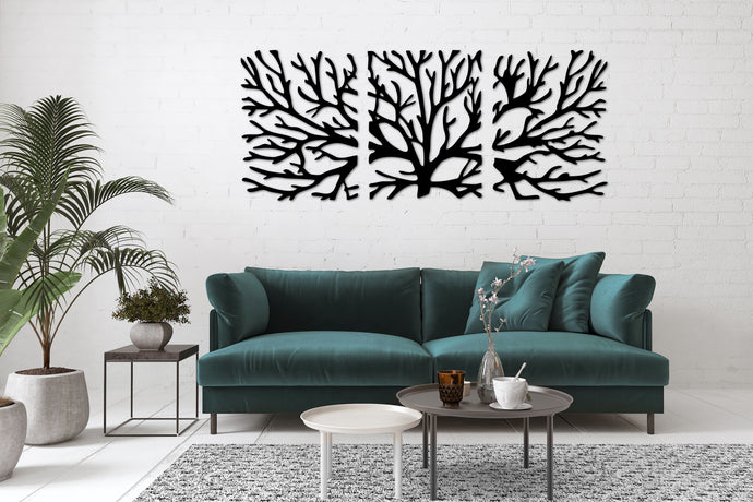Metal Wall Art Tree Design - Oia Blue