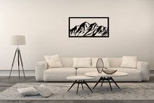Load image into Gallery viewer, Metal Wall Art Mountains Design - Oia Blue