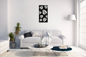 Metal wall art decoration poster leaf design - Oia Blue