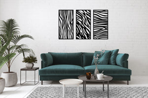 Meta Wall Art Zebra Panel 3 Pieces Poster - Oia Blue