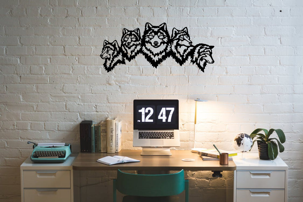 Metal Wall Art Wolves - Oia Blue