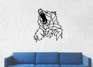Metal Wall Art Angry Bear 3D effect - Oia Blue