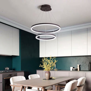 60w LED Pendant Light Double Rim 60+40cm - Oia Blue