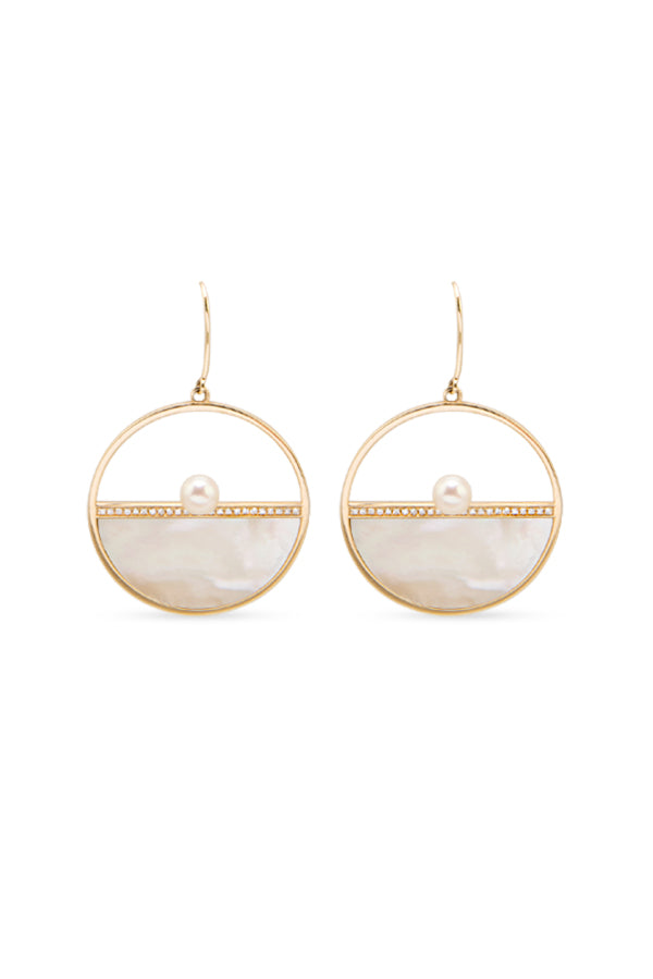 Road, road jewelry, jewelry, ROAD, ROAD jewelry, fine jewelry, fine, solid gold, yellow gold, 14K, 14k gold, 14k yellow gold, mother of pearl, Tahitian pearl, pearls, diamonds, pave diamonds, hoop, hoop earrings, earrings, earring, hoops, round, gift, gifts for her, mid-century, designer jewelry, custom design jewelry, rose gold, white gold, geometric jewelry, white mother of pearl,