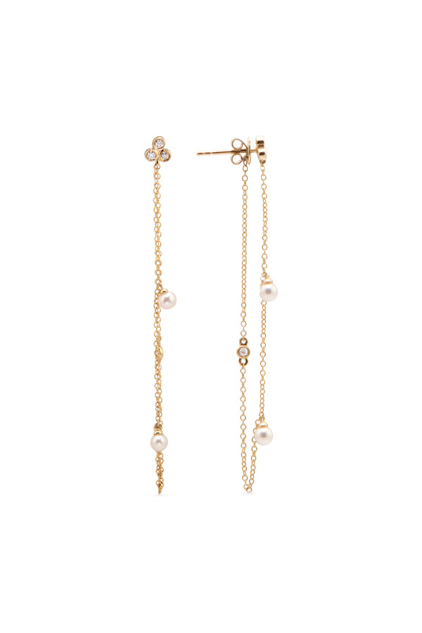 Jewelry, fine jewelry, fine, road, ROAD, road jewelry, ROAD jewelry, custom jewelry, topaz, bezeled topaz, bezeled, pearl, pearls, chain earring, stackable earring, earring, earrings, 14k, 14K gold, 14K solid gold, yellow gold, rose gold, white gold, gold jewelry, hanging earring, hanging pearl earrings, simple gold earrings, gift, gift ideas, gifts for her, jewelry gift, white topaz
