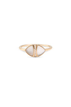 Load image into Gallery viewer, Road, road jewelry, jewelry, designer, custom jewelry, custom, 14k, 14k gold, rose gold, yellow gold, white gold, pave diamond ring, diamond ring, almond ring, ring, rings, mother of pearl ring, jewelry gift, jewelry gifts, stackable, stackable ring, stackable rings