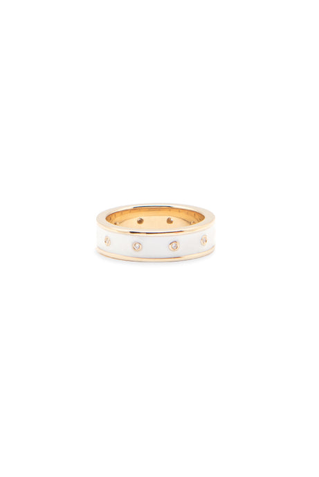 Road, road jewelry, fine jewelry, fine, jewelry, custom jewelry, jewelry gift, designer jewelry, gift, gifts for her, ring gift, ring, rings, white enamel ring, enamel ring, white enamel, bezeled diamond, diamonds, diamond, bezeled diamonds, everyday ring, 14k gold, 14k, solid gold, yellow gold, white gold, rose gold, stackable ring, stackable