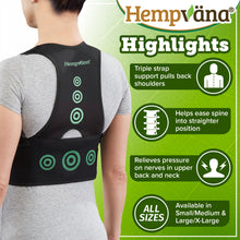 Load image into Gallery viewer, Hempvana Arrow Posture product highlights: triple strap support, eases spine into straighter position, relieves pressure on nerves, available in S/M and L/XL
