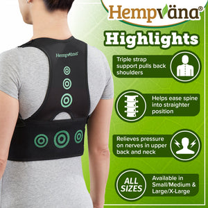 Hempvana Arrow Posture product highlights: triple strap support, eases spine into straighter position, relieves pressure on nerves, available in S/M and L/XL
