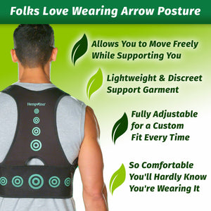 Man wearing Hempvana Arrow Posture - highlights benefits like its lightweight fabric, that it's fully adjustable, and comfortable