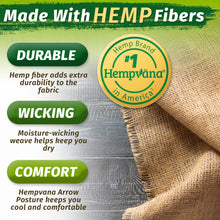 Load image into Gallery viewer, Hempvana Arrow Posture is made with Hemp Fibers that make the fabric durable, moisture-wicking, and comfortable