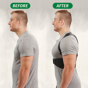 Before and after of man wearing Hempvana Arrow Posture with corrected posture.