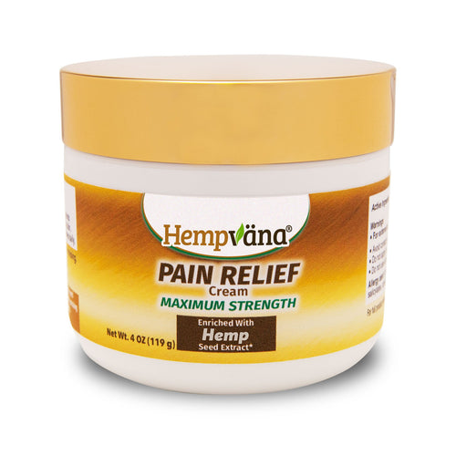Jar of Hempvana Gold Pain Relief Cream isolated on white background