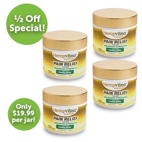 Hemp Cream for Pain - 4 Pk Gold Pain Relief Cream w/ Turmeric & Aloe