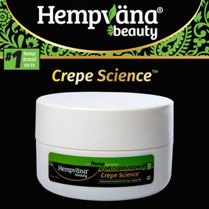 "Text says, ""Hempvana Beauty #1 Hemp Brand, Crepe Science;"" Jar of Hempvana Crepe Science isolated on black background"