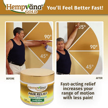 Load image into Gallery viewer, Man unable to raise his arm is able to raise 45 degrees thanks to hempvana gold pain cream