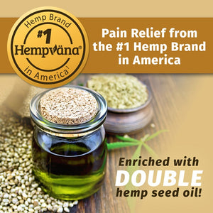 Hemp seed oil in jar with hemp seeds. Pain Relief from the #1 Hemp Brand In America