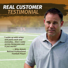 Load image into Gallery viewer, Photo of Mike Alstott with testimonial for Hempvana Gold