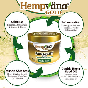 Hempvana Gold Pain Cream helps stiffness, inflammation, muscle soreness, and is enriched with double hemp seed oil