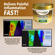 Load image into Gallery viewer, Infrared thermometer - showing pain and after without pain thanks to Hempvana Gold