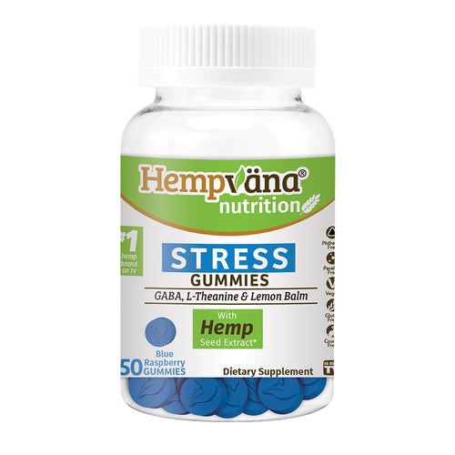 Bottle of Hempvana Stress Gummies isolated on white background