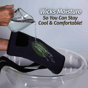 Hand pouring measuring cup of water onto Knee Relief to demonstrate moisture-wicking; text says wicks moisture so you can stay cool and comfortable