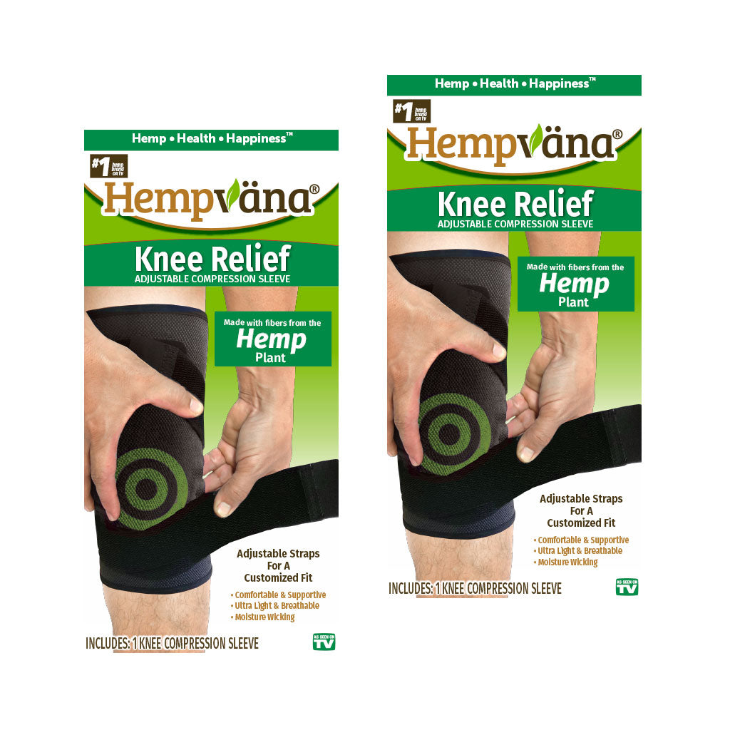 Two boxes of Hempvana Knee Relief isolated on white background