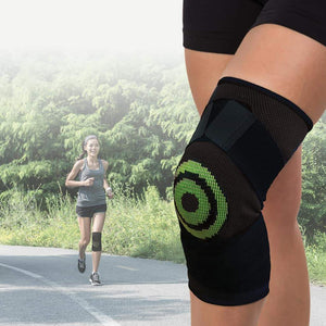 Close-up of woman's leg wearing Knee Relief; woman jogging in background