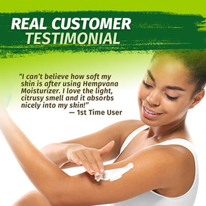 Woman applying Hempvana Moisturizer to her arm; real customer testimonial