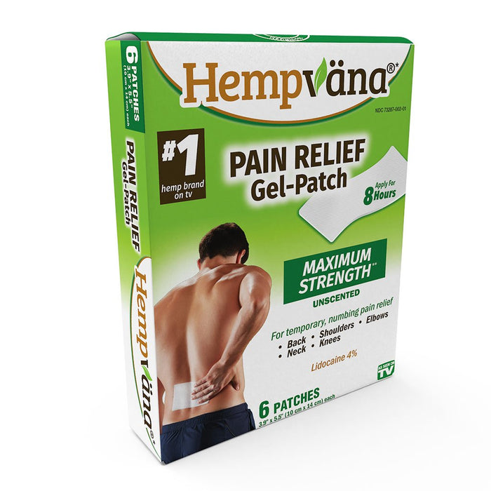 Isolated box of Hempvana Pain Relief Gel Patches