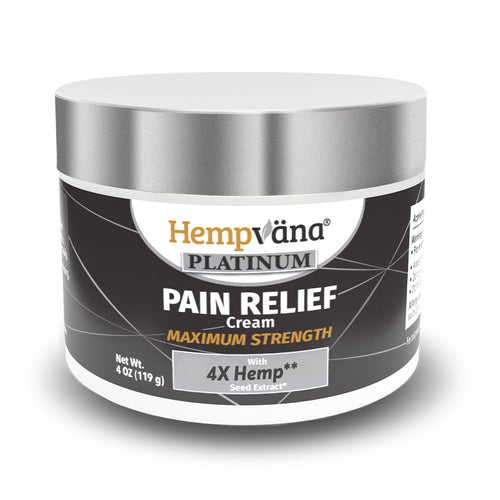 Jar of Hempvana Platinum Pain Relief Cream isolated on white background