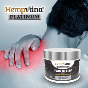 Man holding sore neck in background; jar of Hempvana Platinum Pain Relief Cream in foreground