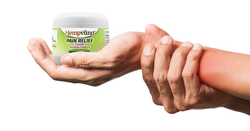 Hand holding sore wrist; open palm holding Hempvana Pain Relief Cream