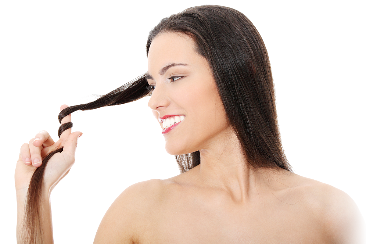 Woman pulling section of hair demonstrating how strong and healthy it is, isolated on white background