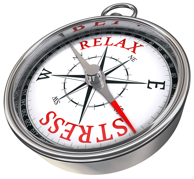 Concept: Stress / Relax compass with red needle pointing to stress