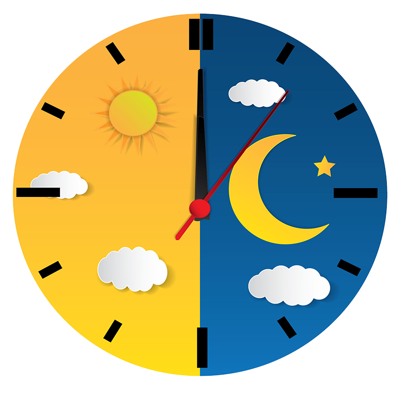 Analog clock face split with day and night - concept representing sleep cycles