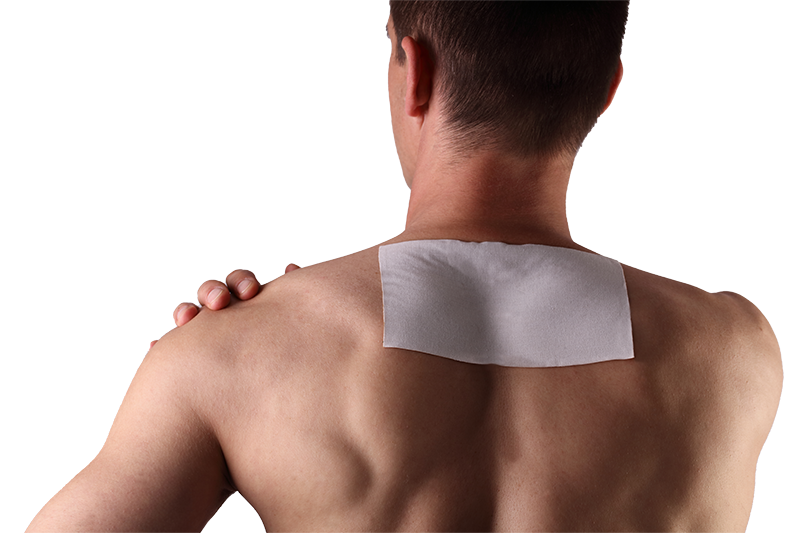 Man - back and shoulders with pain patch on