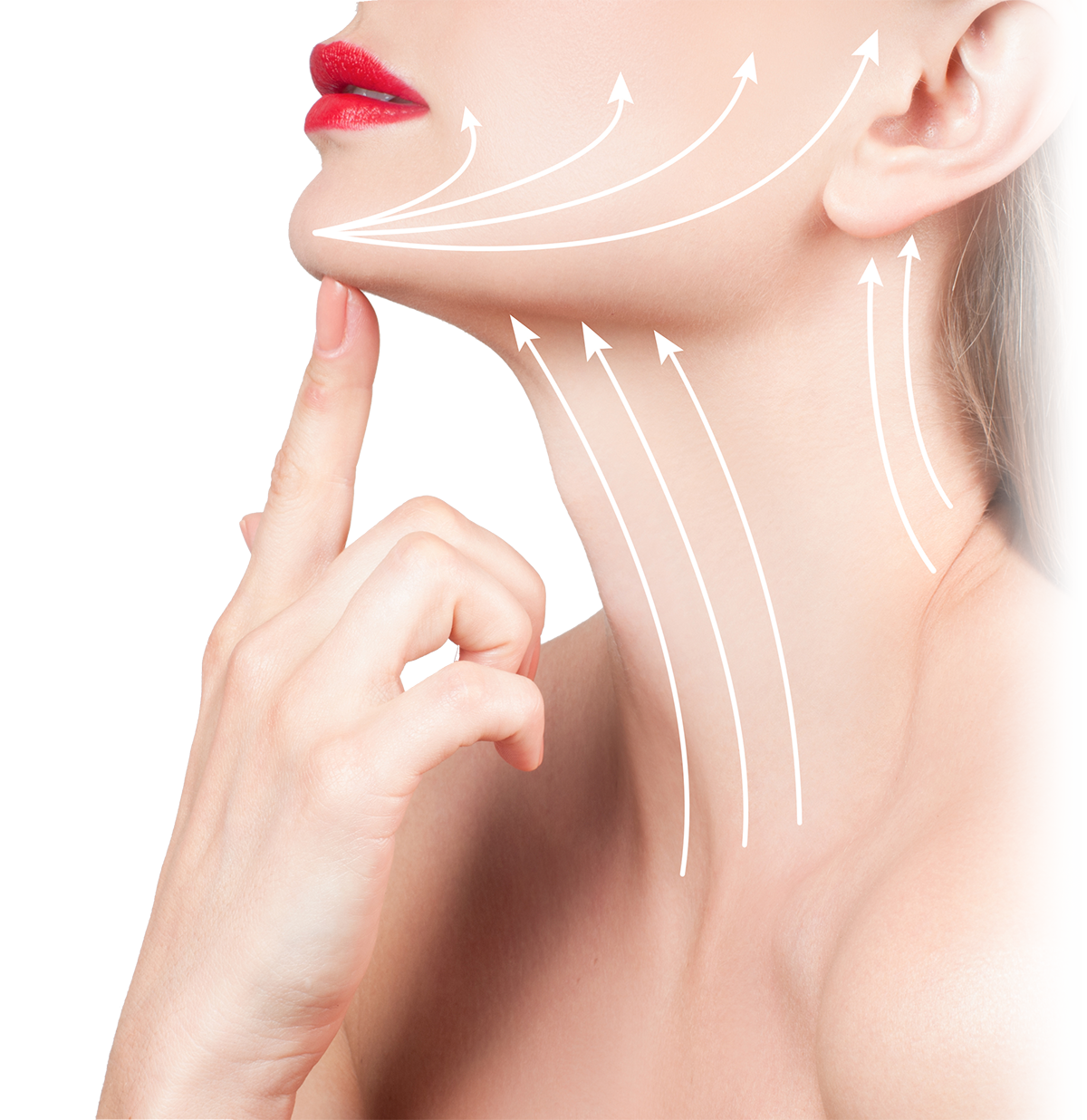 Woman pointing to chin, neck close-up with lines indicating firming
