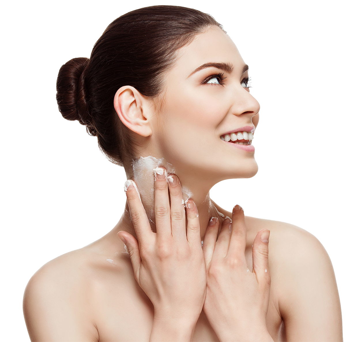 Woman slathering on moisturizer on neck, looking up to side of frame
