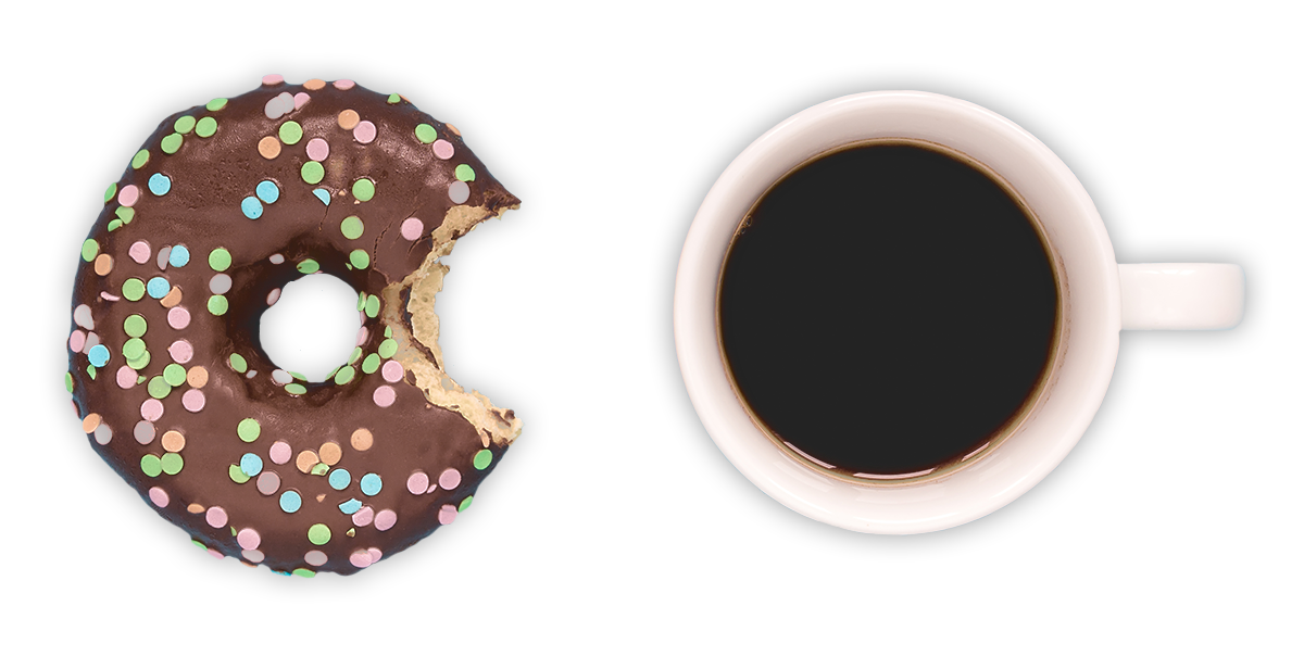 Chocolate-covered sprinkle donut with a bite missing from it and a cup of Donut Shop Blend coffee next to it.