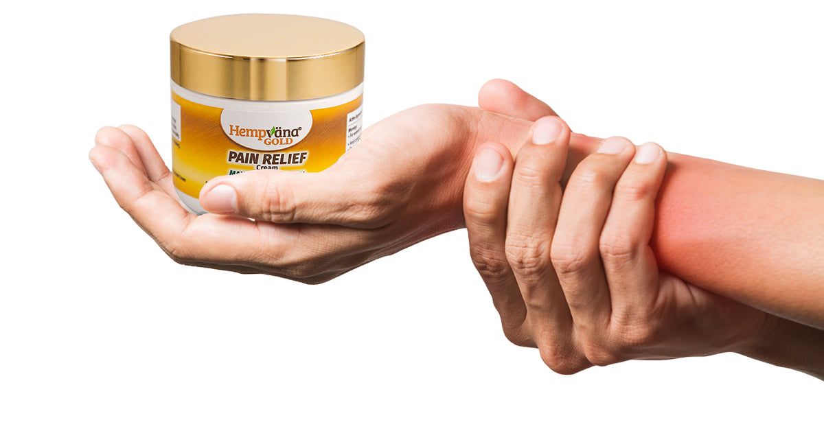 Hand holding wrist in pain; open palm holding jar of Hempvana Gold Pain Cream