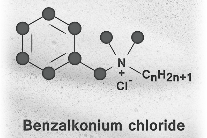 Chemical formula for  benzalkonium chloride on a foam background